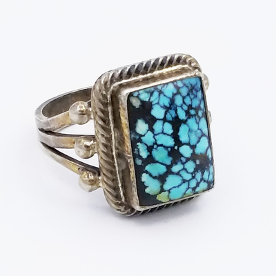 Title: Ring: Navajo Spiderwed Turquoise , Date: c. 1940 , Size: 6 1/4