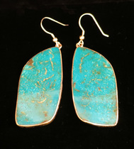 Title: Earrings: Santo Domingo Kingman Turquoise & Silver Backed , Medium: Sterling Silver , Edition: Vintage