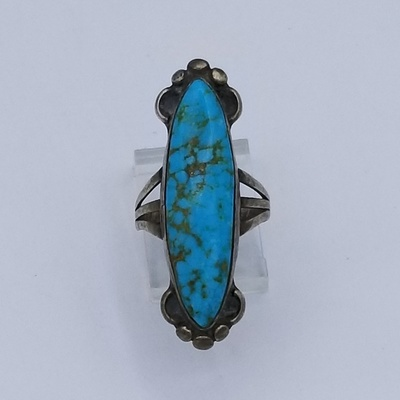 Title: Ring: Large Elongated Oval Natural Turquoise & Silver Navajo , Size: Size 5 , Medium: Sterling Silver , Edition: Vintage