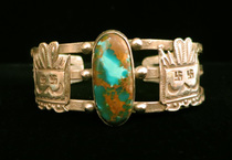 Title: Bracelet: Early & Rare Single Turquoise & Silver Harvey Bracelet w/stamped Katchina Heads On Each Si , Medium: Sterling Silver , Edition: Vintage