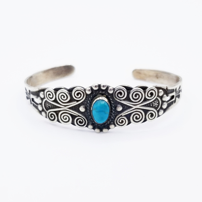 Title: Bracelet: Fred Harvey Silver & Turquoise w/Blue Turquoise & Curly Cue Wire Knots , Medium: Sterling Silver , Edition: Vintage