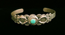 Title: Bracelet: Fred Harvey Silver & Turquoise w/Green Stone Wrapped By Snake & Horseshoe Accents , Medium: Sterling Silver , Edition: Vintage
