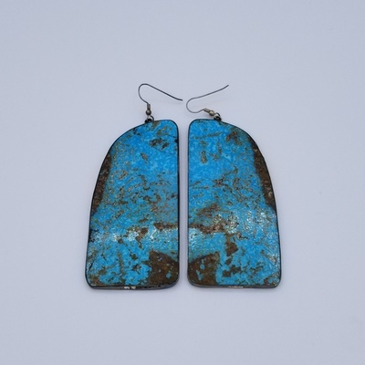 Title: Earrings: Extra Large Pair of Kingman Turquoise & Silver Backed (Santo Domingo) , Medium: Sterling Silver , Edition: Vintage