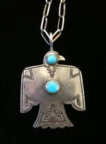 Title: Pendant: Silver & Turquoise Double Stone T-Bird on 24