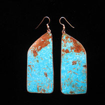 Title: Earrings: Beautiful Turquoise Slab Earrings , Size: 2 3/4 x 2 1/8 inches , Medium: Sterling Silver