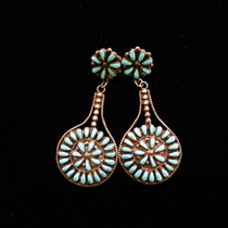 Title: Earrings: Beautiful Zuni Multi-Stone Teardrops , Size: 2 5/8 x 1 1/8 inches , Medium: Sterling Silver , Edition: Vintage