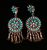 Title: Earrings: Circular Zuni Multi Stone with Dangles , Size: 2 1/2 x 1 inches , Medium: Sterling Silver , Edition: Vintage