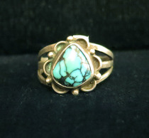 Title: Ring: Lovely Turquoise Stone with Scallop Design , Size: 6 3/4 , Medium: Sterling Silver , Edition: Vintage