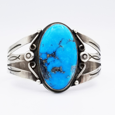 Title: Bracelet: Beautiful Navajo Morenci Turquoise Cuff , Medium: Sterling Silver , Edition: Vintage