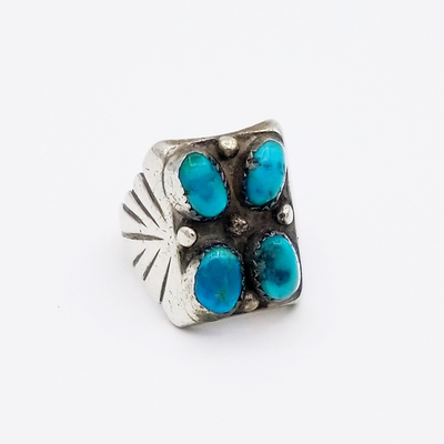 Title: Ring: Men's Solid Sterling Navajo with Four Turquoise Stones , Size: Size 10 , Medium: Sterling Silver , Edition: Vintage