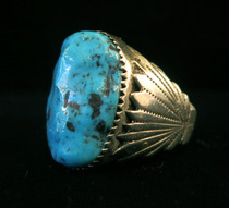 Title: Ring: Beautiful Turquoise Stone with Sterling Fan Design on Sides , Size: Size 10 , Medium: Sterling Silver , Edition: Vintage