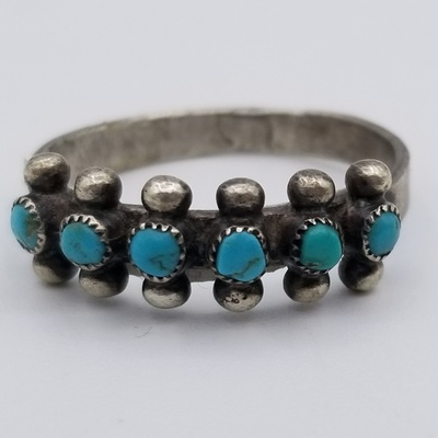 Title: Ring: Six Stone Zuni , Size: Size 6 , Medium: Sterling Silver , Edition: Vintage