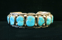 Title: Bracelet: Navajo Row Bracelet with Stamping , Medium: Sterling Silver , Edition: Vintage