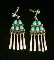 Title: Earrings: Vintage Zuni Petit Point Turquoise Dangle , Medium: Sterling Silver , Edition: Vintage