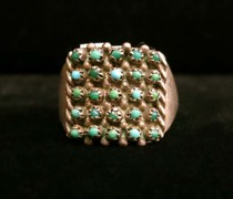 Title: Ring: Rare Petit Point Turquoise Band with Rope Border , Size: Size 6 , Medium: Sterling Silver , Edition: Vintage