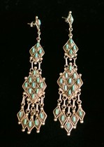 Title: Earrings: Rare Zuni Needlepoint Chandelier , Size: 3
