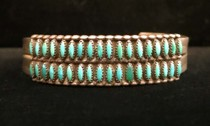 Title: Bracelet: Zuni Petit Point Turquoise , Size: 5/8 inches wide , Medium: Sterling Silver , Edition: Vintage