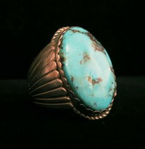 Title: Ring: Men's Solid Sterling Vintage with Turquoise Stone , Size: Size 11 , Medium: Sterling Silver , Edition: Vintage
