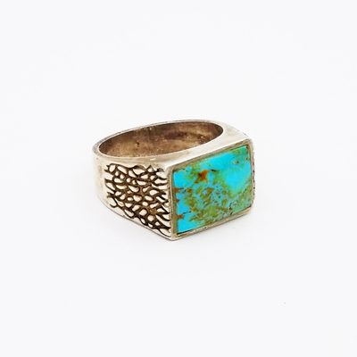 Title: Ring: Men's Sterling Vintage with Turquoise Stone , Size: 10.5 , Medium: Sterling Silver , Edition: Vintage