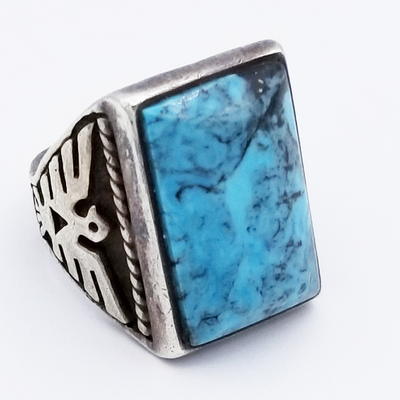 Title: Ring: Vintage Thunderbird with Turquoise Stone , Size: 6 , Medium: Sterling Silver , Edition: Vintage