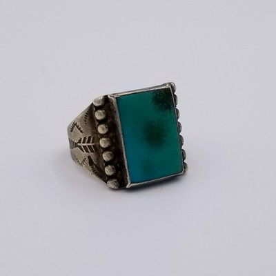 Title: Ring: Men's Fred Harvey Turquoise and Sterling - Stamped , Size: 10.25 , Medium: Sterling Silver , Edition: Vintage