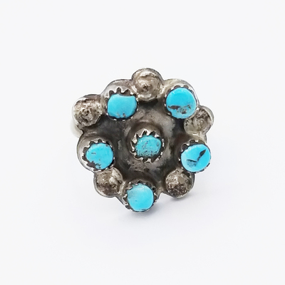 Title: Ring: Vintage Turquoise Flower Ring , Size: 5.5 , Medium: Sterling Silver , Edition: Vintage