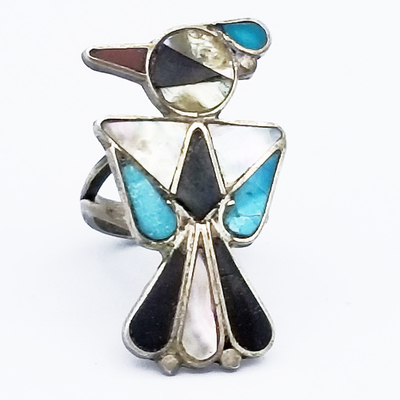Title: Ring: Multi Stone Thunderbird , Size: 4.5 , Medium: Sterling Silver , Edition: Vintage