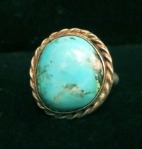 Title: Ring: Round Turquoise Stone with Rope , Size: 7 , Medium: Sterling Silver , Edition: Vintage