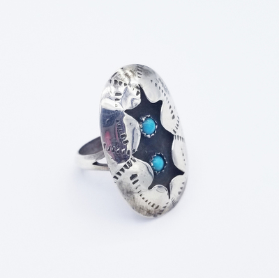 Title: Ring: Sterling Silver With 2 Turquoise Stones , Size: 8.5 , Medium: Sterling Silver , Edition: Vintage