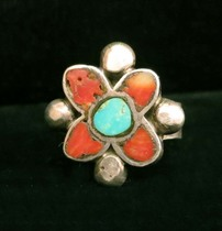 Title: Ring: Silver with Turquoise and Coral Inlay Flower , Size: 10.5 , Medium: Sterling Silver , Edition: Vintage
