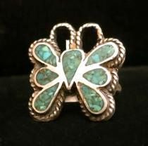 Title: Ring: Silver with Turquoise Inlay Butterfly , Size: 6 3/4 , Medium: Sterling Silver , Edition: Vintage