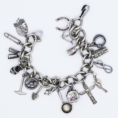 Title: Bracelet: Charm bracelet with 18 Solid , Size: 8 inches , Medium: Sterling Silver , Edition: Vintage