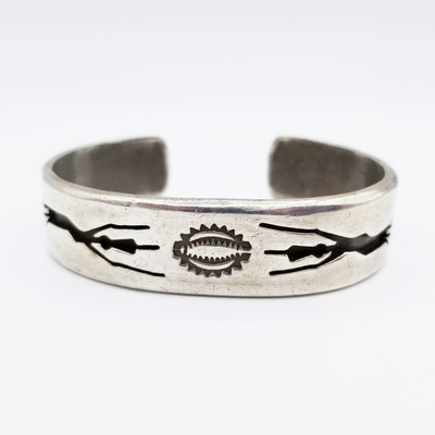 Title: Bracelet: All Silver w/ Forms and Stamping , Medium: Sterling Silver , Edition: Vintage