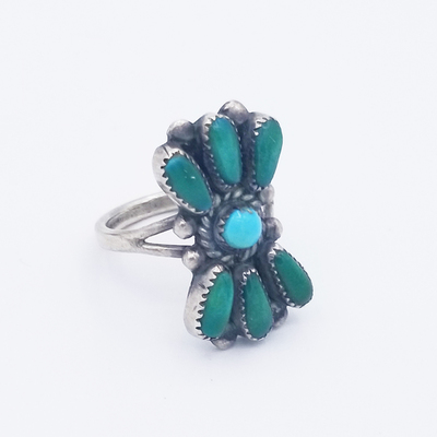 Title: Ring: Zuni with Seven Turquoise Stones , Medium: Sterling Silver , Edition: Vintage