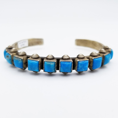 Title: Bracelet:  10 Stone Square Turquoise Row , Medium: Sterling Silver/Turquoise , Edition: Vintage