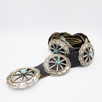 Old Pawn Jewelry - Belt:  Beautiful 15 Concho Navajo with Sterling and turquoise