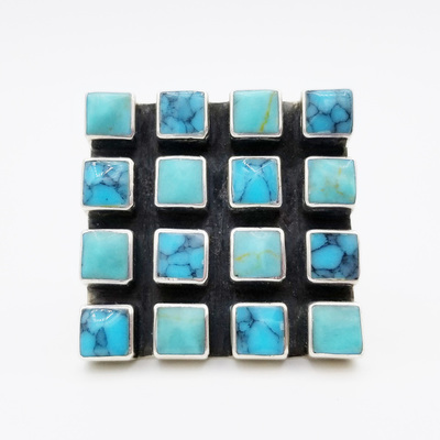 Old Pawn Jewelry - Ring:  16 Beautiful Square Turquoise and Silver