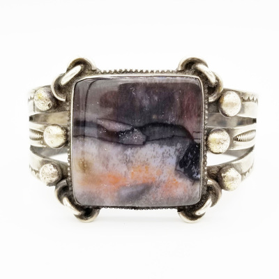 Title: Bracelet: Silver Agate Square Stone , Medium: Sterling Silver , Edition: Vintage