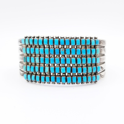Title: Bracelet: Rare Zuni Five Rows 40 Turqoise Square Pillow Stones , Medium: Sterling Silver/Turquoise , Edition: Vintage