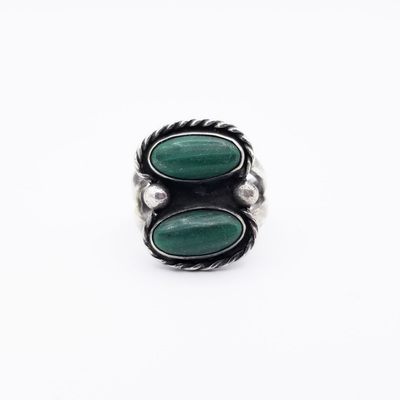 Title: Ring: Navajo Malachite Ring , Size: 6 1/2 , Medium: Sterling Silver/Turquoise , Edition: Vintage