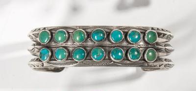 Title: Bracelet: Navajo w/Beautiful matched Turquoise , Date: 1920 , Medium: Sterling Silver/Turquoise