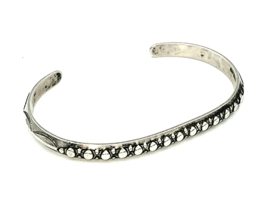 Title: Bracelet: Solid Sterling Silver Beaded & Stamped , Medium: Sterling Silver