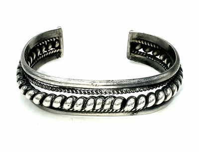 Title: Bracelet: Sterling Twisted Silver Navajo , Medium: Sterling Silver