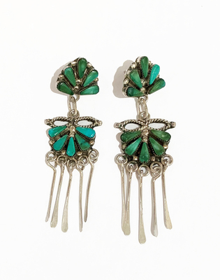 Title: Earrings: Zuni Dangle with Turquoise , Size: 2 3/4 L x 3/4 W inches , Medium: Sterling Silver