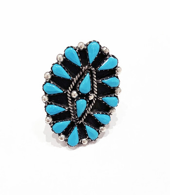 Title: Ring: Zuni Sterling Silver and Turquoise , Size: 5