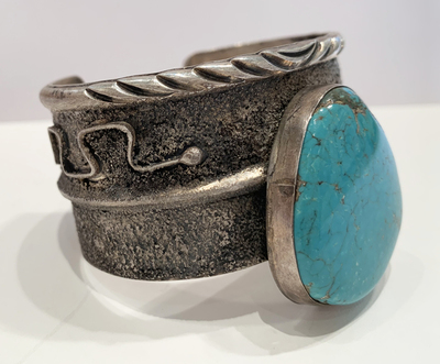 Title: Bracelet: Navajo Sterling Silver w/ Fabulous Turquoise Stone , Medium: Sterling Silver , Signed: Signed