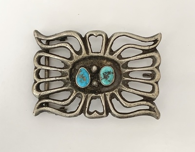 Title: Buckle: Navajo w/ 2 Turq Stones , Medium: Sterling Silver