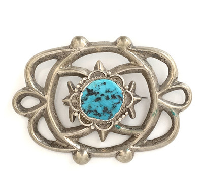 Title: Pin: Unique Design w/ Turquois , Medium: Sterling Silver