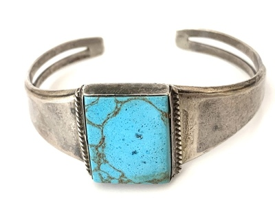 Title: Bracelet: Simple w/ Square Turquoise Stone , Medium: Sterling Silver