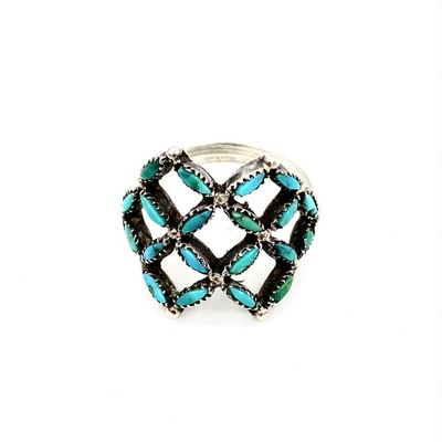 Title: Ring: Lattice Needlepoint Turquoise , Size: 3 3/4 , Medium: Sterling Silver
